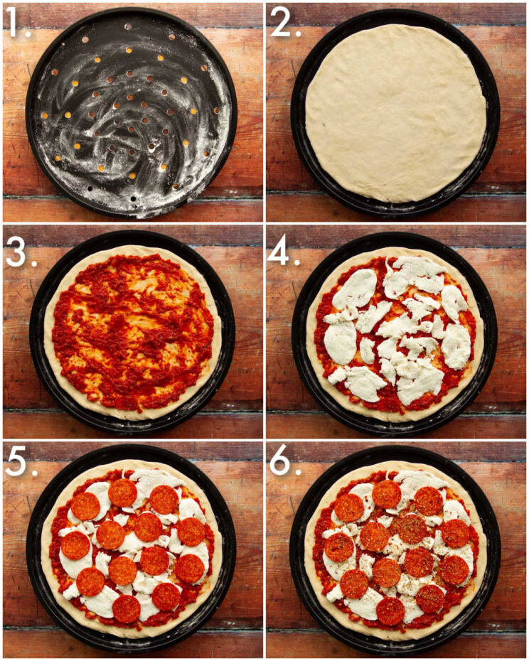 6 step by step photos showing how to make pepperoni pizza