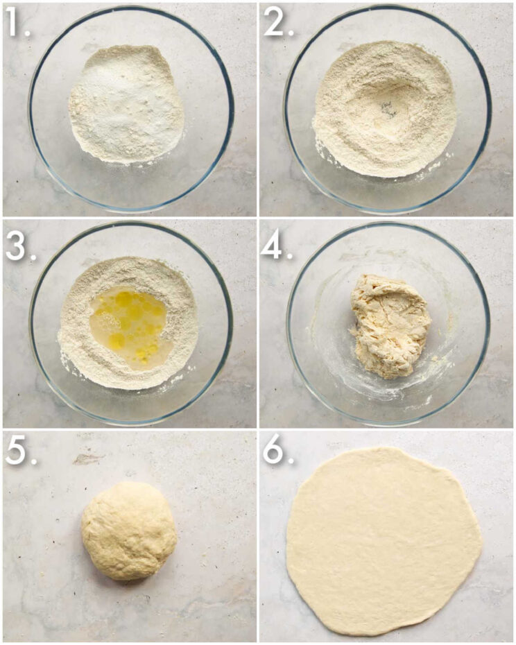 6 step by step photos showing how to make pizza dough without yeast