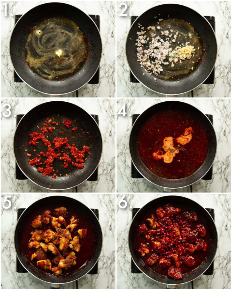 6 step by step photos showing how to make pomegranate chicken