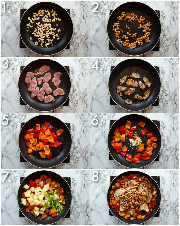 8 step by step photos showing how to make pork pineapple stir fry