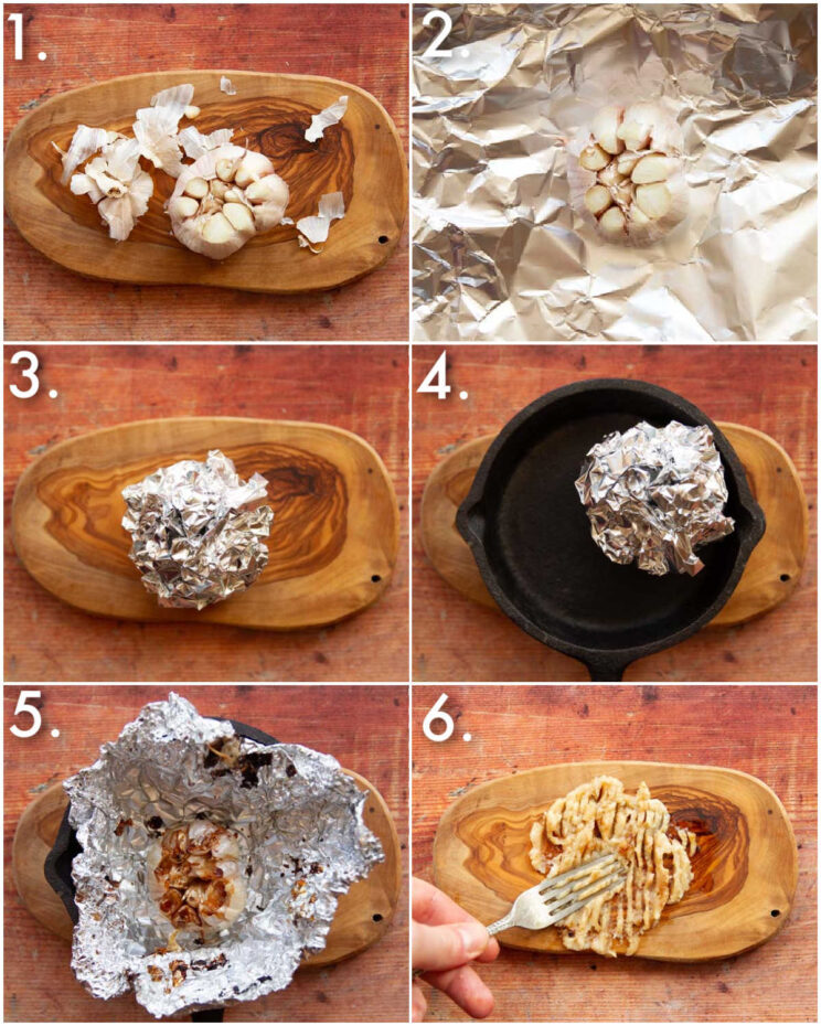 6 step by step photos showing how to roast garlic