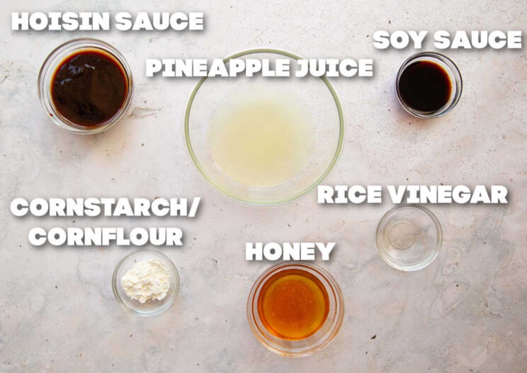 overhead shot of pork stir fry sauce ingredients with text labels