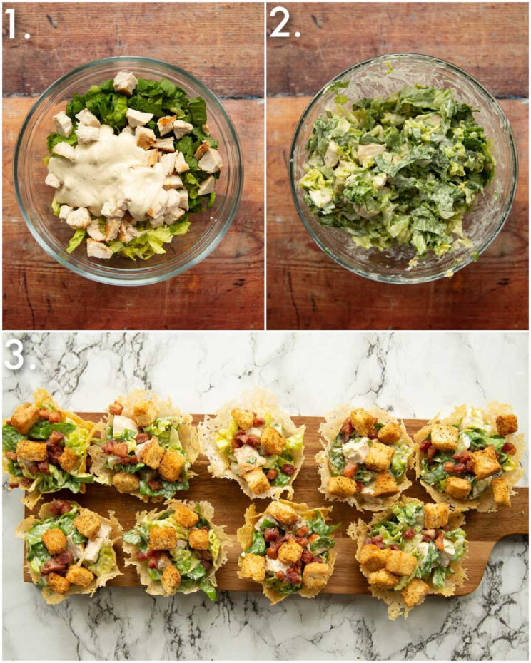 3 step by step photos showing how to make caesar salad cups