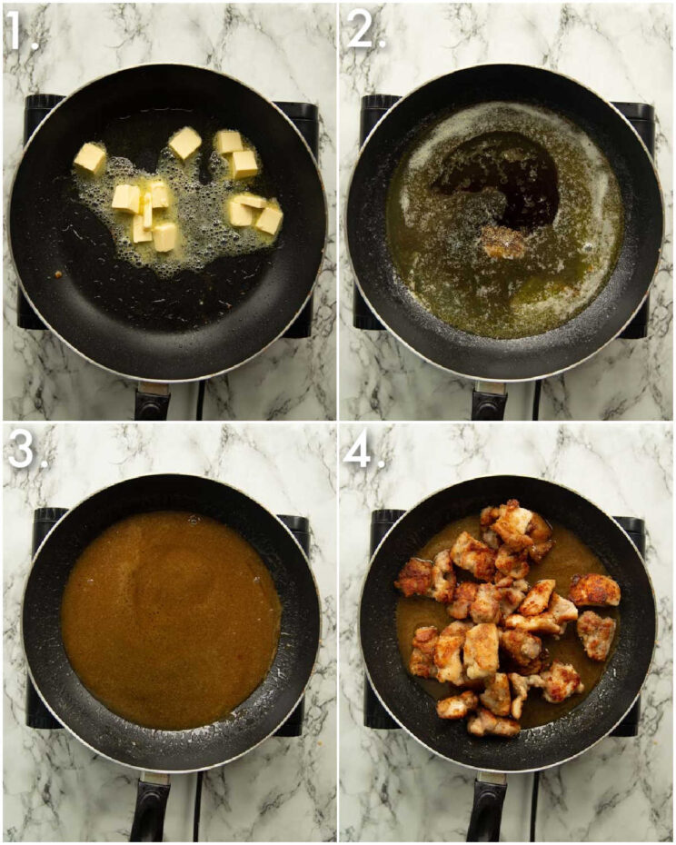 4 step by step photos showing how to make honey butter sauce