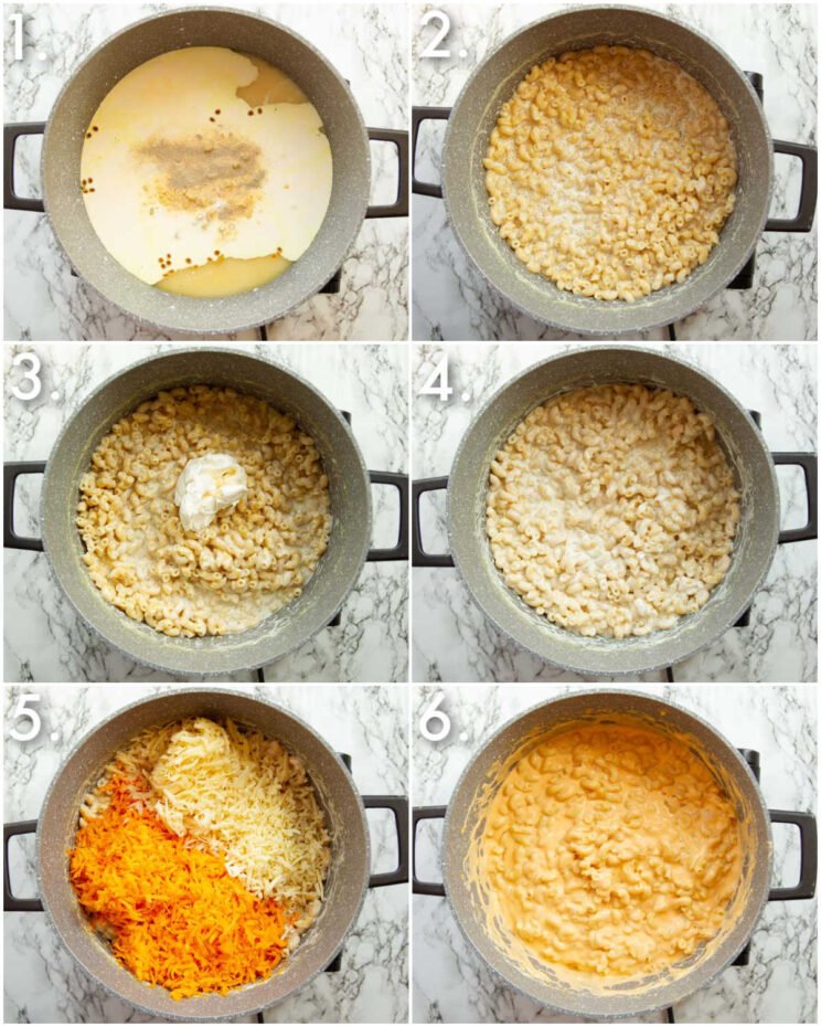 6 step by step photos showing how to make one pot mac and cheese