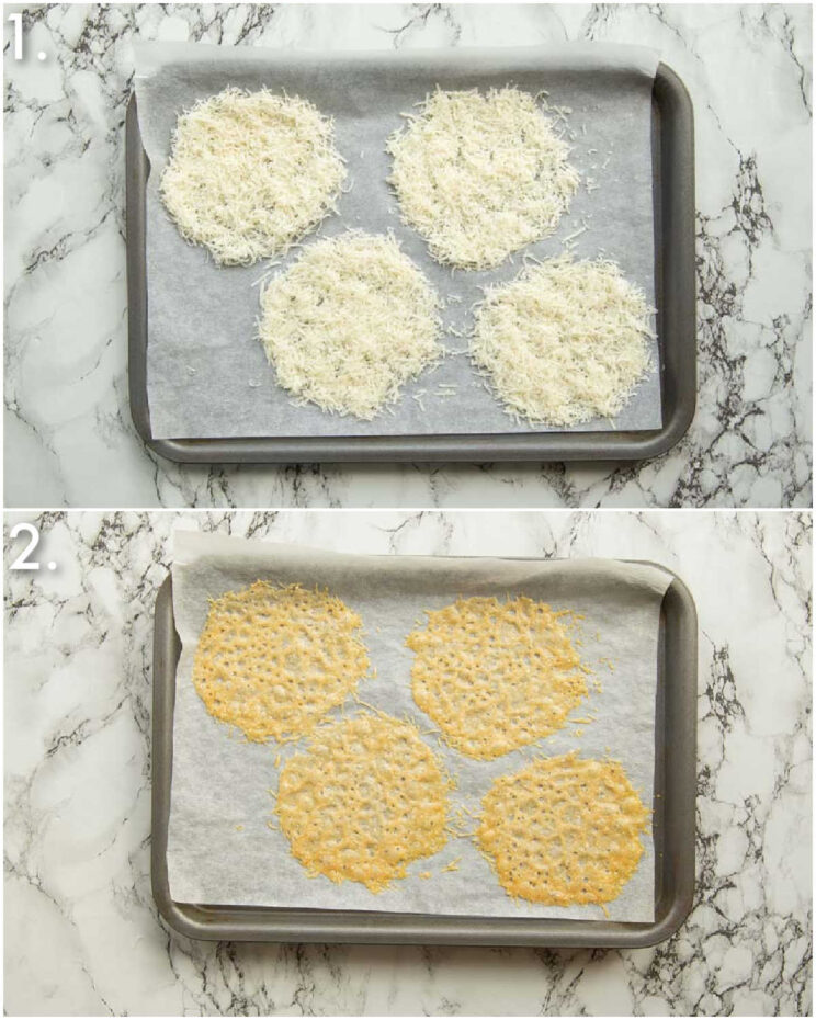 2 step by step photos showing how to make parmesan crisps