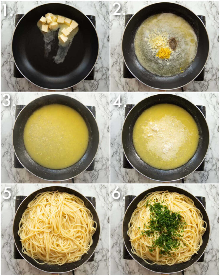 6 step by step photos showing how to make lemon pasta
