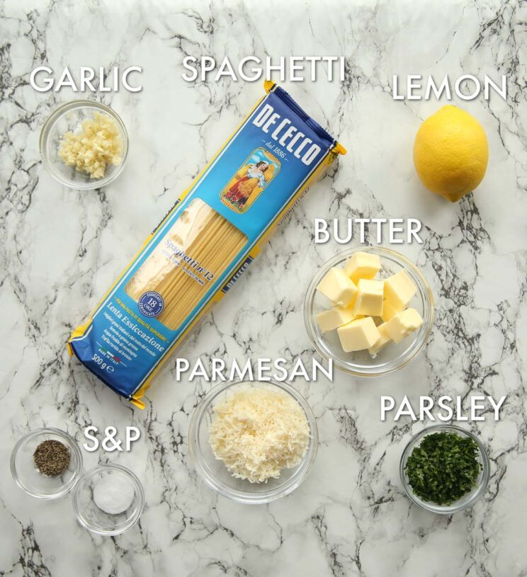 overhead shot of lemon pasta ingredients with text labels